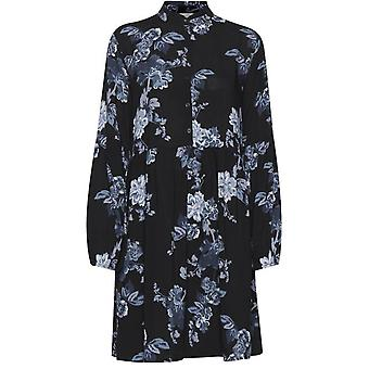 b.young Henna Blue Floral Smock Dress