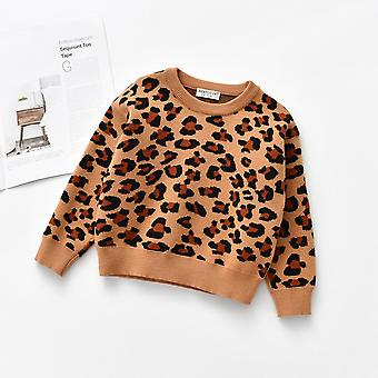 Leopard Knitted Pullover Casual Long Sleeve's Tops, Toddler / Clothes