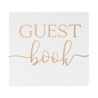 Wedding Guest Book White and Rose Gold Foiled 32 Pages
