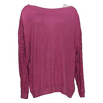 Peace Love World Women's Top Comfy Ruched Sleeve Detail Purple A353713