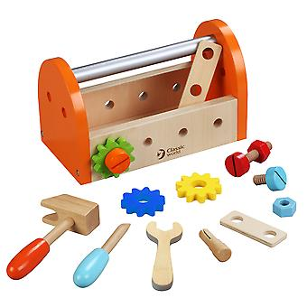 Classic World - Carry Along Wooden Carpenters Set in Tool Box
