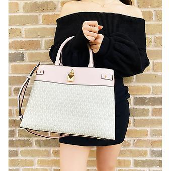 Michael kors gramercy large logo leather satchel vanilla powder blush pink