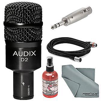 Faisceau dynamique de microphone d'instrument Audix d2 avec adaptateur + câble xlr + désinfectant de micro + tissu de nettoyage fibertique