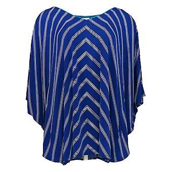 Susan Graver Women's Top Striped Liquid Knit V-Neck Scarf Blue A254451