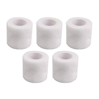 5Pieces Breathable Cohesive Bandages Self-Adherent Tape Width 5cm White