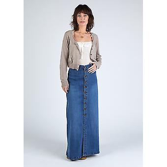 Peggy button down organic denim maxi skirt