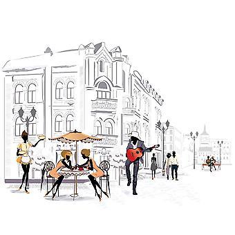 Wandmalerei Straßenmusiker im alten t