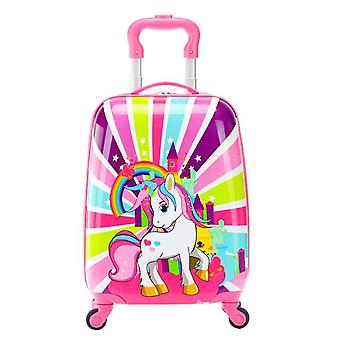 "18"" Cartoon Rolling Luggage Wheeled Bag Kid Suitcase Carry-ons"