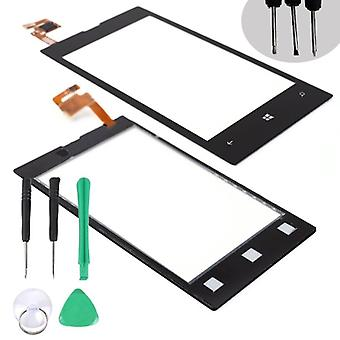 For Nokia Lumia 520 Black Touch Screen Glass Digitizer Udskiftning Reparation Del Lens Cover + 5 Tool (skruetrækker 2stk + Grøn Plastic Pry Lifter 1stk +
