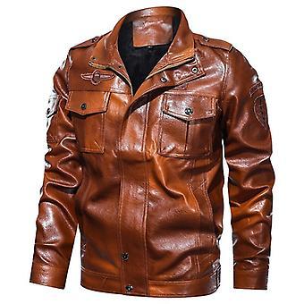 Fashion Mens Leather Jacket, Military Chest Big Pockets, Men Zipper Motocycle