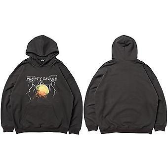 Men Hoodie Sweatshirt, Hip Hop Streetwear, Lightning Pullover, Autumn, Winter