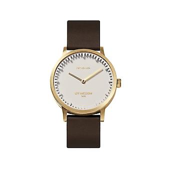 Leff Amsterdam LT74623 T32 Brass/White Case Brown Leather Strap Wristwatch