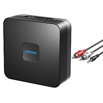 Mpow bluetooth receiver for music streaming sound system, rca & 3.5mm aux compatible, 15 hours built