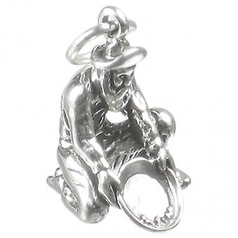 Gold Panner Old Prospector Sterling Silver Charm .925 X1 Panners Charms - 2680