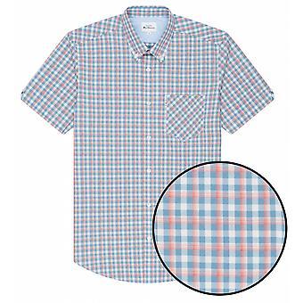 BEN SHERMAN Ben Sherman Mens Big Size Cotton Check Short Sleeve Shirt