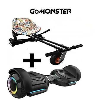 "NEW - 6.5"" G PRO Black Bluetooth Hoverboard with LED Wheels with FREE Go Monster Hoverkart Bundle - Choose Your Colour (Choose Colour Monsterkart: Gra"