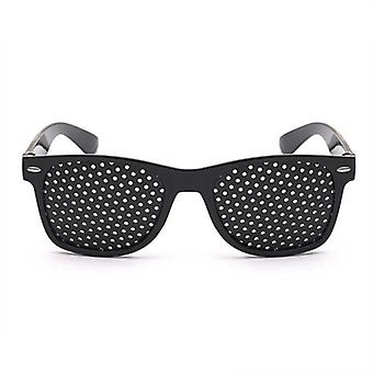Unisex Vision Care Pin Eye Small Hole Eyeglasses (black)