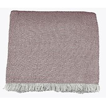 Soft Pink Cotton Chambray Waffle Weave Throw Blanket