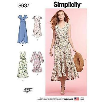 Yksinkertaisuus ompelu kuvio 8637 Misses Ladies Casual Wrap Mekko Koko 16-24 Leikkaamaton