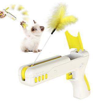 Cat toy rebound feather gun funny cat gun pet supplies