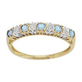 Klassische Runde blau Topas & Diamant Ewigkeit Ring in 9ct Gelbgold 181R0853279