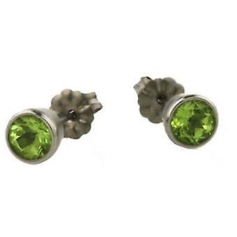 Ti2 Titanium Medium Gem Stone Stud Earrings - Green