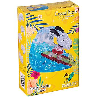 HanFei 59188 3D Crystal Puzzle Snoopy Surfen, Mehrfarbig