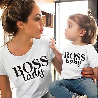 Puuvilla Matching Vaatteet, Asut Äiti ja tytär T-paita