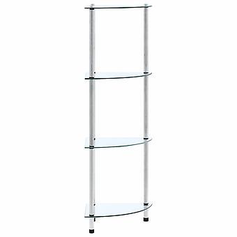 vidaXL shelf with 4 shelves Transparent 30x30x100 cm tempered glass