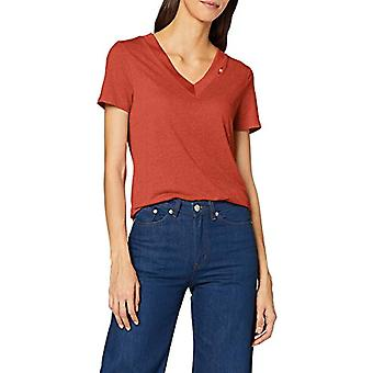 Scotch & Soda Maison V Neck Tee with Small Embroidery On Rib T-Shirt, Red (Broken Brick 3305), X Woman