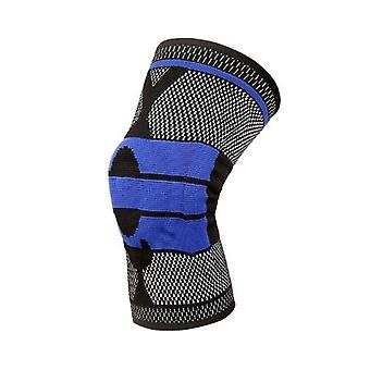Basketbal ondersteuning siliconen gewatteerde kniebeschermers ademende knieschijf bescherming Gery + blauwe M
