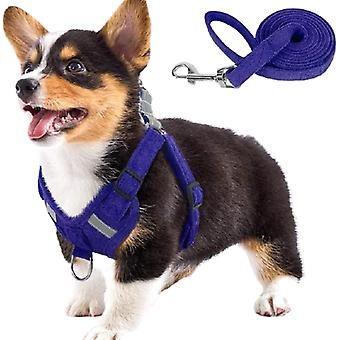 Suede fabric dog harness and leash