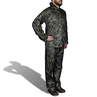 Tarnfarben Regenbekleidung für Männer 2-teilig mit Kapuze Größe M