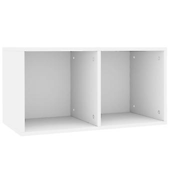 vidaXL Record Storage Box White 71×34×36 cm Chipboard