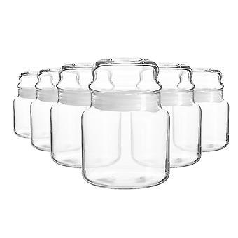 6x Sera Glass Storage Jars Kitchen Sweet Candy Food Pots Sealed Lid 635ml Blanco