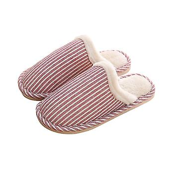 Red 36-37 thick comfortable soft warm stripped couple slippers-female homi2136