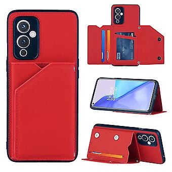 Case For Oneplus 9 Vintage Cuir Cover Leather Case Bumper - Rouge