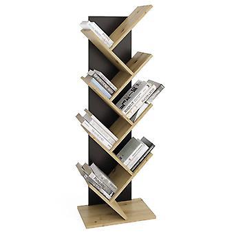 FMD Geometrisches Bücherregal Eiche-Optik und Schwarz
