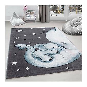 Petit tapis d'enfant Chambre d'enfant Bébé Elephants Maman Gris Bleu Meliert