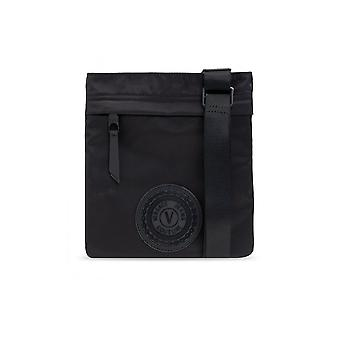 Versace Jeans Couture Nylon Black Pouch With V-emblem Logo On The Front