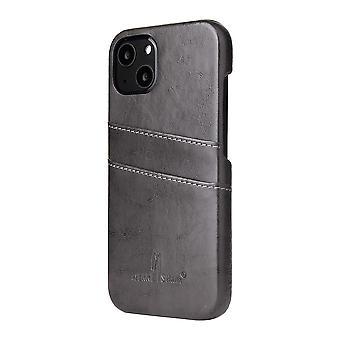For iPhone 13 mini tilfelle Deluxe Lær Lommebok Tilbake Shell Slank Deksel Grå