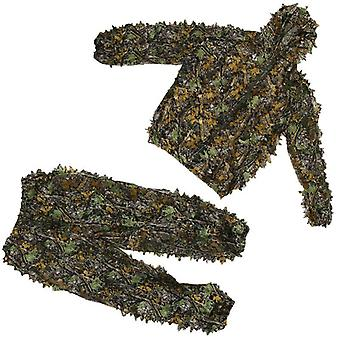 1 Set Hunting Clothes 3d Leaf Coat Trousers Camouflage
