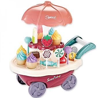 Children's Toy Spinning Ice Cream And Candy Cart-pretend Game