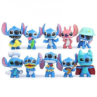 10pcs Stitch Lilo Toys Anime Action Figure Keychains Christmas Gifts And Dolls Home Party Supply Cake Decoration