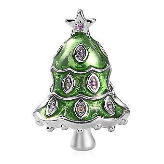 Simulierte gelbe Saphir und Multi Edelstein Weihnachtsbaum Charme in Silber