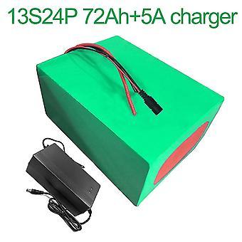 Batterij met oplader 5a 72ah 48v Li-ion 18650 oplaadbare elektrische fiets E-bike Ebike Accepteer maatwerk 13s24p 260 * 245 * 140mm