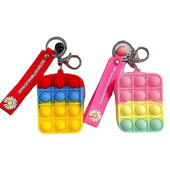2pcs Mini Coin Purse Fidget Spielzeug Bubble Push Spielzeug, Pop auf seinem Stressabbau Spielzeug