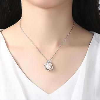 925 Silver Water Wave Chain Pearl Necklace Natural Freshwater Pearl Pendant  Gift|Necklaces