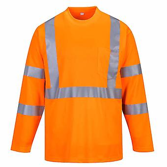 Portwest - Hi-Vis Safety Long Sleeve T-Shirt With Pocket