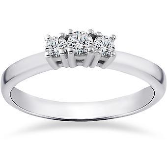 1 / 2ct trois laboratoire Pierre créé Diamond Engagement Ring 14 K White Gold
